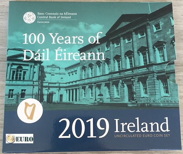 Euro set BU FDC Ierland 2019 + 2 euro Dail
