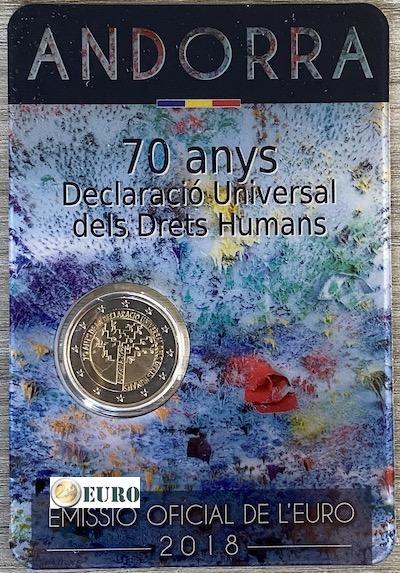2 euro Andorra 2018 - 70 jaar Mensenrechten BU FDC Coincard