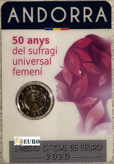 2 euro Andorra 2020 - 50 jaar vrouwenkiesrecht BU FDC Coincard