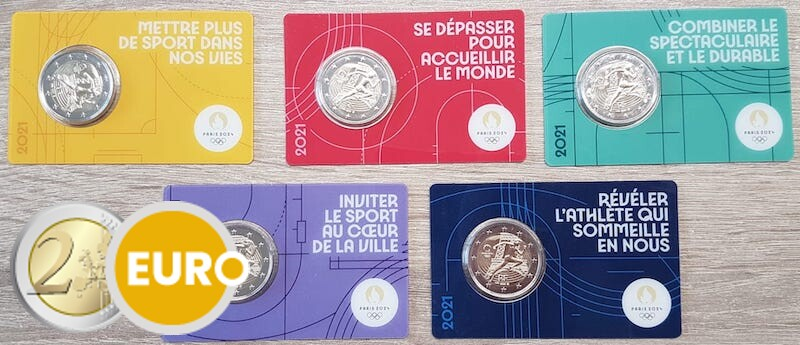 5 x 2 euro Frankrijk 2021 - Overhandiging Olympische vlag BU FDC Coincard