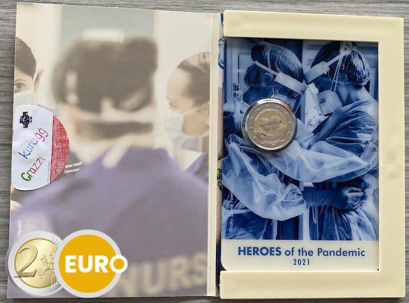 2 euro Malta 2021 - Helden van de pandemie BU FDC coincard muntstempel MdP